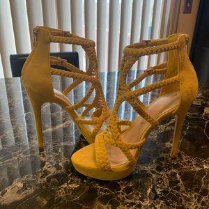 Aldo Yellow Sandal Heels